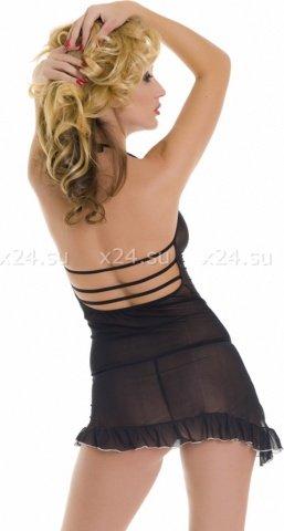 Мини-платье сетчатое черное, фото 2