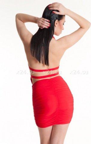 Платье красное стрейчевое с открытой спиной, фото 2