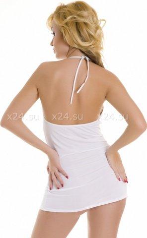 Платье белое с декоративными пряжками, фото 2