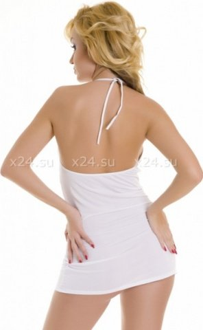 Платье белое с декоративными пряжками SM, фото 2