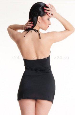 Платье черное с декоративными пряжками SM, фото 2