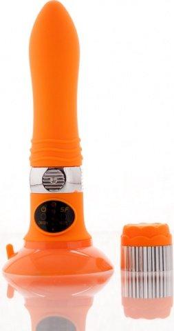 Вибратор оранжевый со съемной присоской (5 режимов) 12 см, фото 3