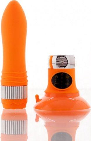 Вибратор оранжевый со съемной присоской (5 режимов) 12 см, фото 4
