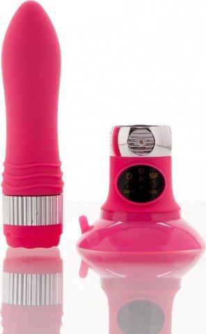 Вибратор розовый со съемной присоской (5 режимов) 12 см, фото 4
