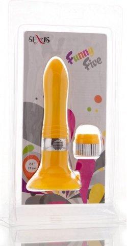 Вибратор желтый со съемной присоской (5 режимов) 12 см, фото 3