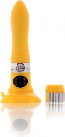 Вибратор желтый со съемной присоской (5 режимов) 12 см, фото 4