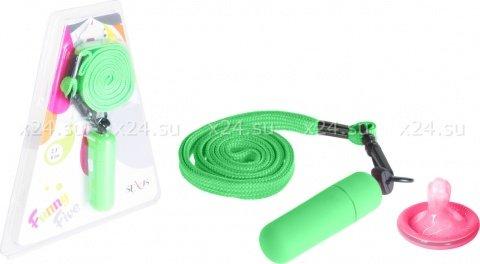 Мини-вибратор зеленый на шнурке Funny Five, фото 2