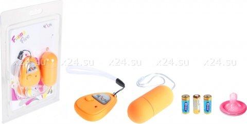 Виброяйцо оранжевое на дистанционном пульте управления Funny Five, фото 2
