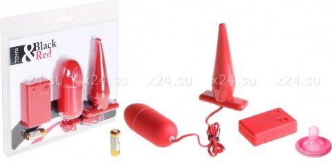 Вибронабор с пультом ДУ (втулка 10,5 см + виброяйцо 8 см) красный, фото 2