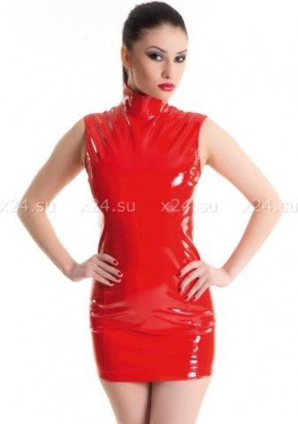 Платье красное виниловое с молнией сзади S