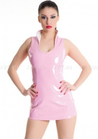 Платье розовое виниловое со шнуровкой сзади L