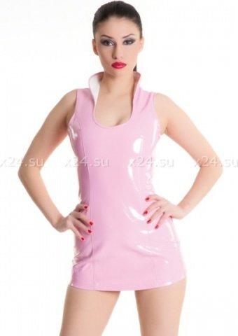 Платье розовое виниловое со шнуровкой сзади