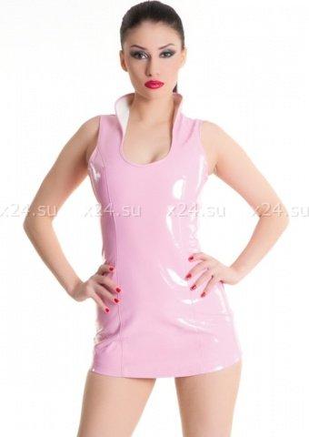 Платье розовое виниловое со шнуровкой сзади, фото 3
