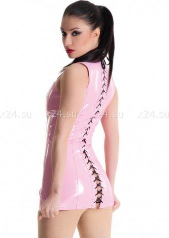 Платье розовое виниловое со шнуровкой сзади, фото 4