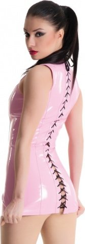 Платье розовое виниловое со шнуровкой сзади, фото 5