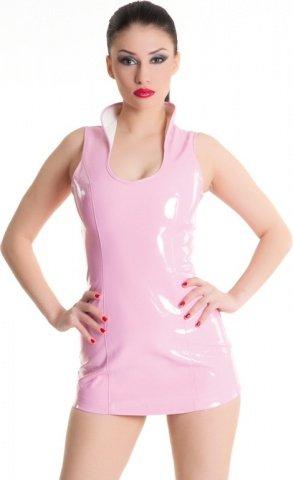Платье розовое виниловое со шнуровкой сзади, фото 6