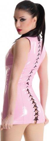 Платье розовое виниловое со шнуровкой сзади, фото 7