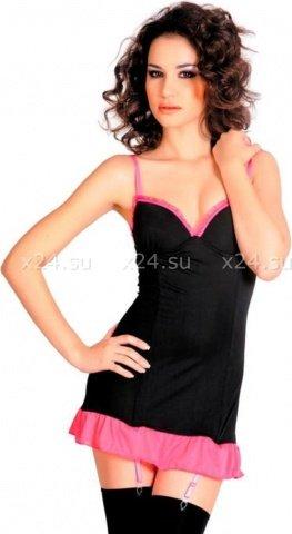 Платье с пажами и стринги черно-розовые