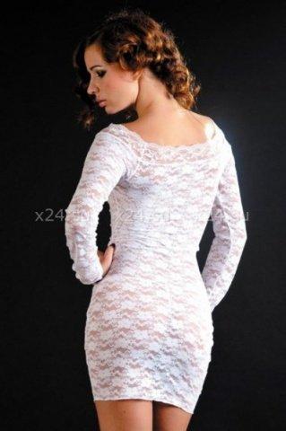 Кружевное белое платье с длинным рукавом, фото 2