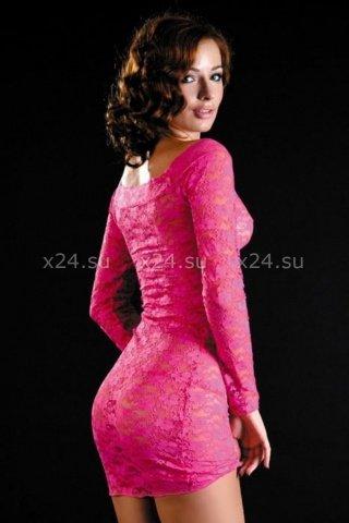 Кружевное розовое платье с длинным рукавом, фото 2