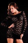 Кружевное черное платье с длинным рукавом | Мини платья | Секс-шоп Мир Оргазма