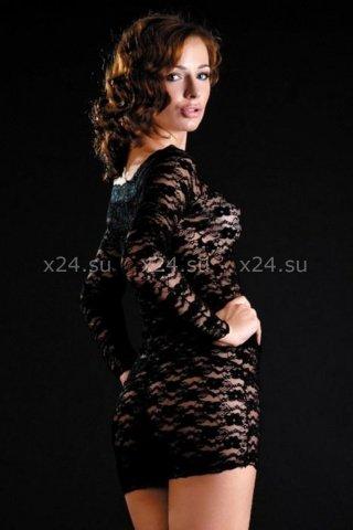 Кружевное черное платье с длинным рукавом, фото 2