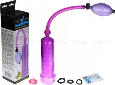 Помпа с силиконовой вставкой 23 см, фиолетовая (в комплекте набор эрекционных колец, лубрикант)