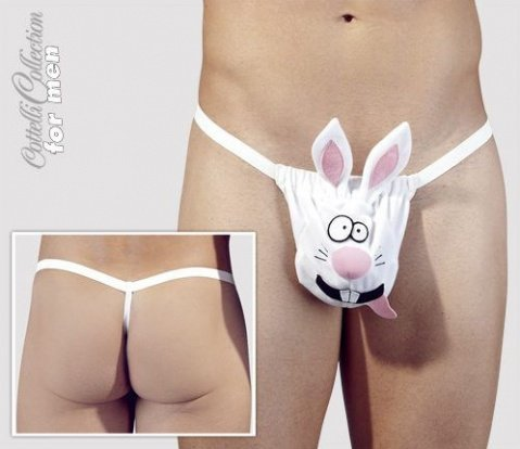 Стринги мужские Кролик белые