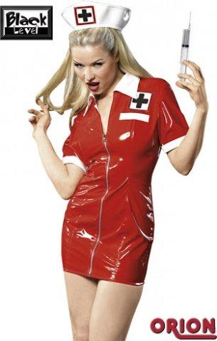 Костюм медсестры из винила красный-XL (большое фото 2) > Интернет секс шоп Мир Оргазма