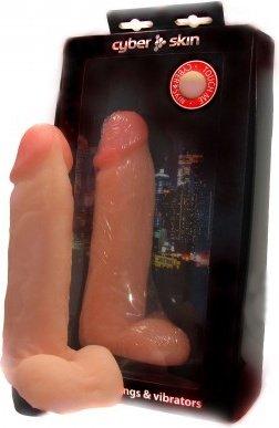 Вибромассажер с мошонкой, неоскин, 45 х190 мм 19 см, фото 2