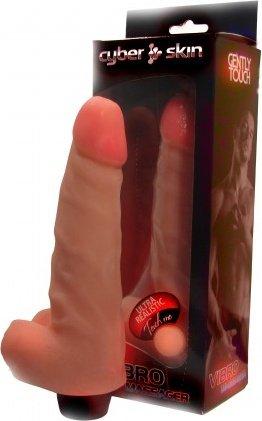 Вибромассажер с мошонкой, неоскин, 45 х185 мм 19 см, фото 2