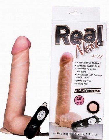 Длинный реалистик на присоске Real Next 9,6'' 32 (вторая кожа, 12 режимов) 24 см, фото 3