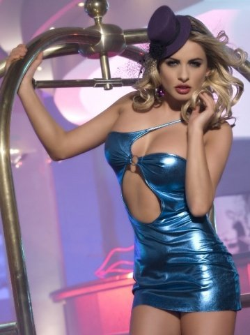Клубное платье с ассиметричным вырезом синее
