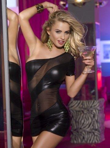 Клубное платье с открытым плечом черное-XL, фото 7
