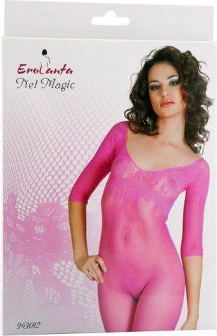 Костюм-сетка с рукавами, с цветочным рисунком, розовый, фото 2