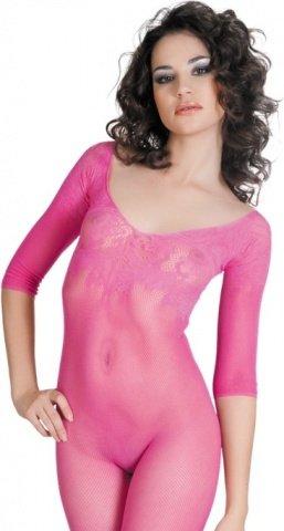 Костюм-сетка с рукавами, с цветочным рисунком, розовый