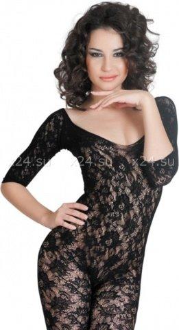 Костюм-сетка с рукавами, шелковистое плетение, черный
