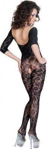 Костюм-сетка с рукавами, шелковистое плетение, черный, фото 2