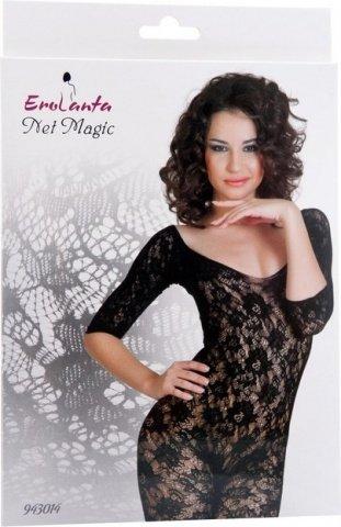 Костюм-сетка с рукавами, шелковистое плетение, черный, фото 3