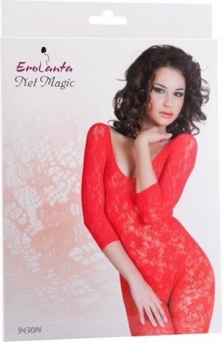 Костюм-сетка с рукавами, шелковистое плетение, красный, фото 2