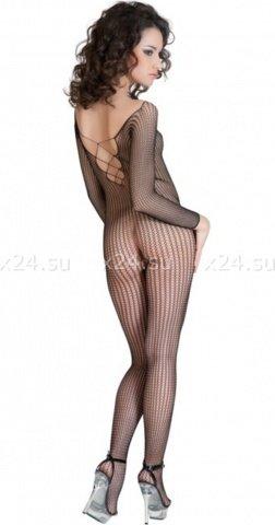 Костюм-сетка с имитацией шнуровки черный, фото 2