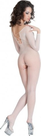 Костюм-сетка с имитацией шнуровки белый, фото 3