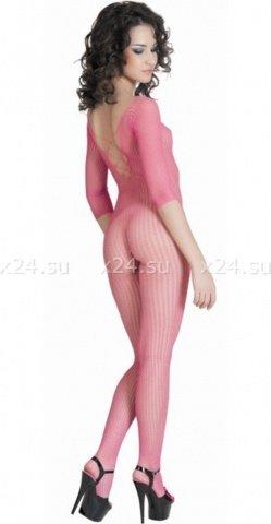 Костюм-сетка с имитацией шнуровки розовый, фото 2