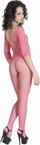 Костюм-сетка с имитацией шнуровки розовый, фото 3
