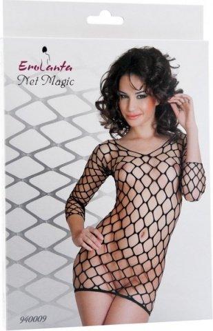 Платье с рукавами из крупной сетки черное, фото 2