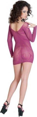 Платье с рукавами с цветочным рисунком лиловое