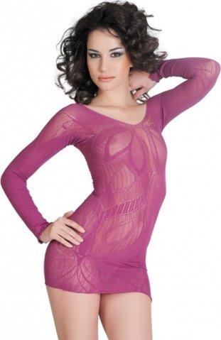 Платье с рукавами с цветочным рисунком лиловое, фото 3