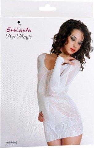 Платье с рукавами с цветочным рисунком белое, фото 2