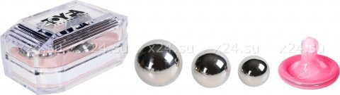 Набор вагинальных шариков: 3 шт, металлические d=30 мм, 25 мм, 20 мм, фото 2