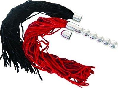Анальная втулка с двумя сменными плетками (черная + красная)